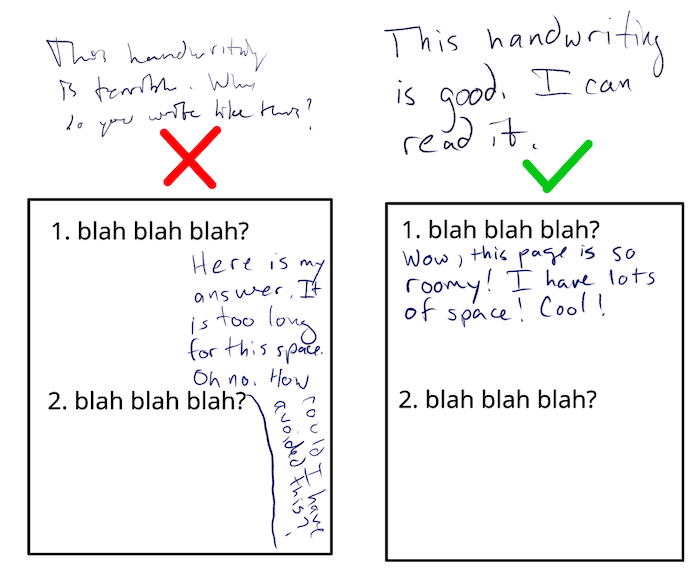 examples of good and bad handwriting. if you're hearing this, well, that doesn't really apply to you, does it? WINK