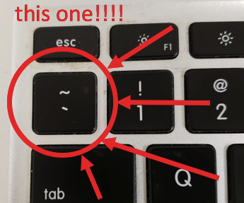 the key to the left of the 1, above tab